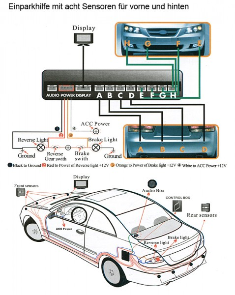 auto einparkhilfe kfz parkhilfe 8 pdc sensoren wasserdichte verbinder auto r ckfahrsysteme. Black Bedroom Furniture Sets. Home Design Ideas