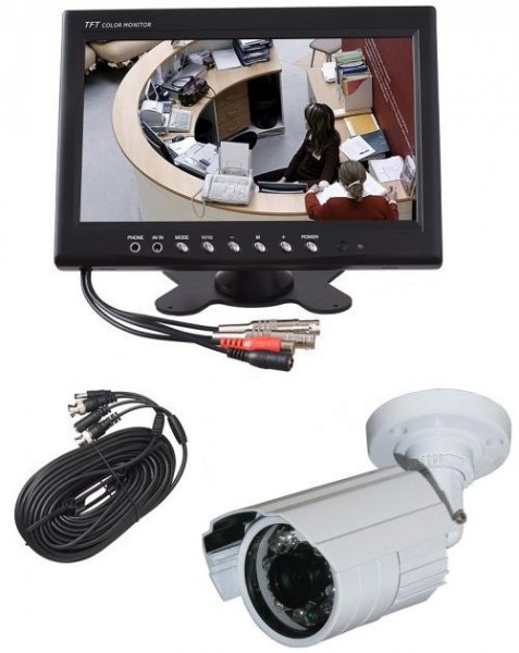 video berwachung berwachungssystem 9 23cm cctv monitor mit cctv kamera 650 tvl ebay. Black Bedroom Furniture Sets. Home Design Ideas