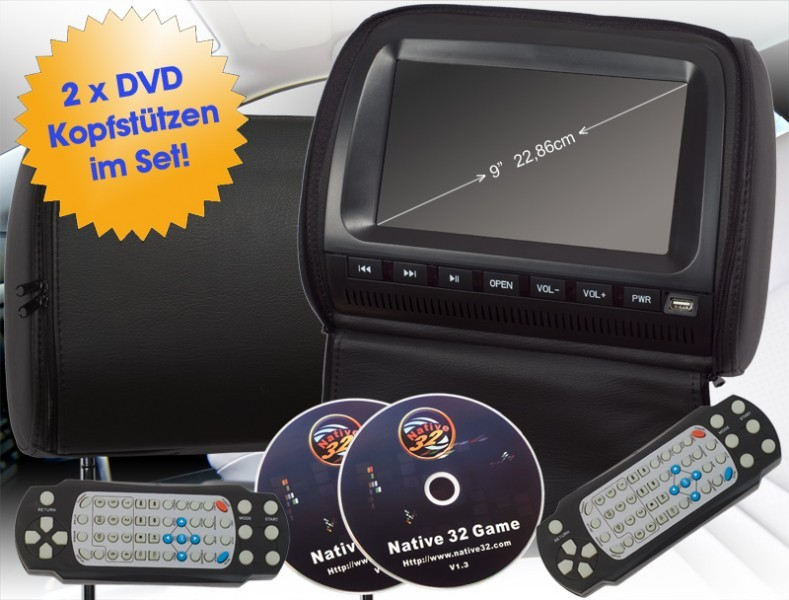 2x 9 22 86 cm kopfst tze auto dvd player digital screen lcd monitor usb schwarz ebay. Black Bedroom Furniture Sets. Home Design Ideas