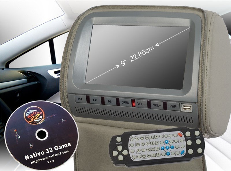 9 zoll 22 86cm kopfst tze auto dvd player digital screen. Black Bedroom Furniture Sets. Home Design Ideas