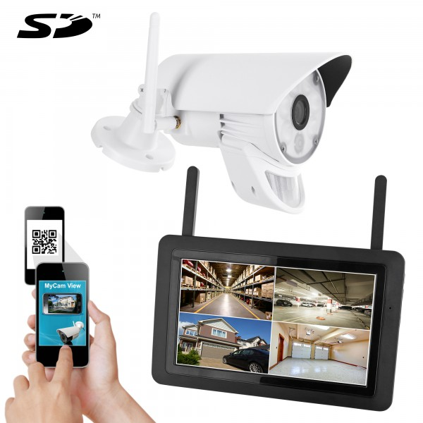 Digitales HD LED Funk Video Überwachungsystem HWT-103+1.LED mit Touchscreen Monitor Akku