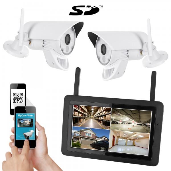 Kabelloses HD Überwachungssystem HWT-103+2.LED mit 2 LED - HD Funk-Kameras PIR