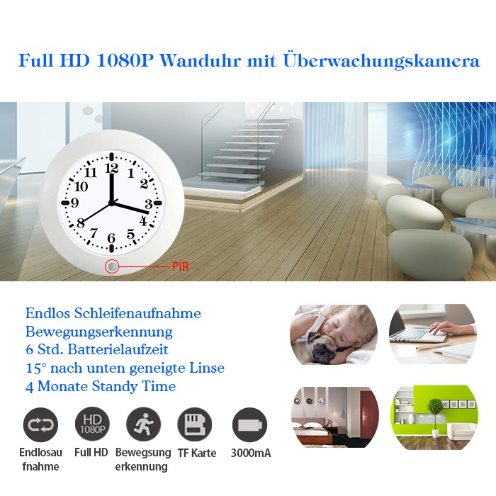 k chenuhr wanduhr mit eingebauter hd berwachungskamera. Black Bedroom Furniture Sets. Home Design Ideas