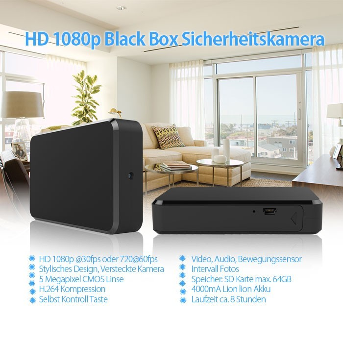 Full HD 1080p Recorder Blackbox mit versteckter Mini Kamera 90° 5MP 64GB – Bild 1
