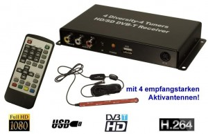 Premium SD Auto DVBT DVB-T TV H.264 Tuner Receiver USB MPEG 2 4 20 db Antennen 12V- 24V- 28V HD Ready