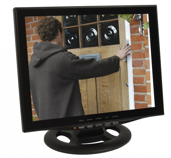 15 38cm cctv monitor video berwachungsmonitor mit led. Black Bedroom Furniture Sets. Home Design Ideas